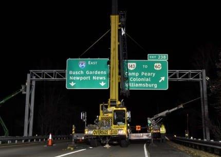 overhead sign installation